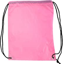 5 Pack 210D POLYESTER Drawstring Backpack, Gym Sports, Outdoor Backpack, Camping and Hiking Pink Bags (5 Pack, Pink)