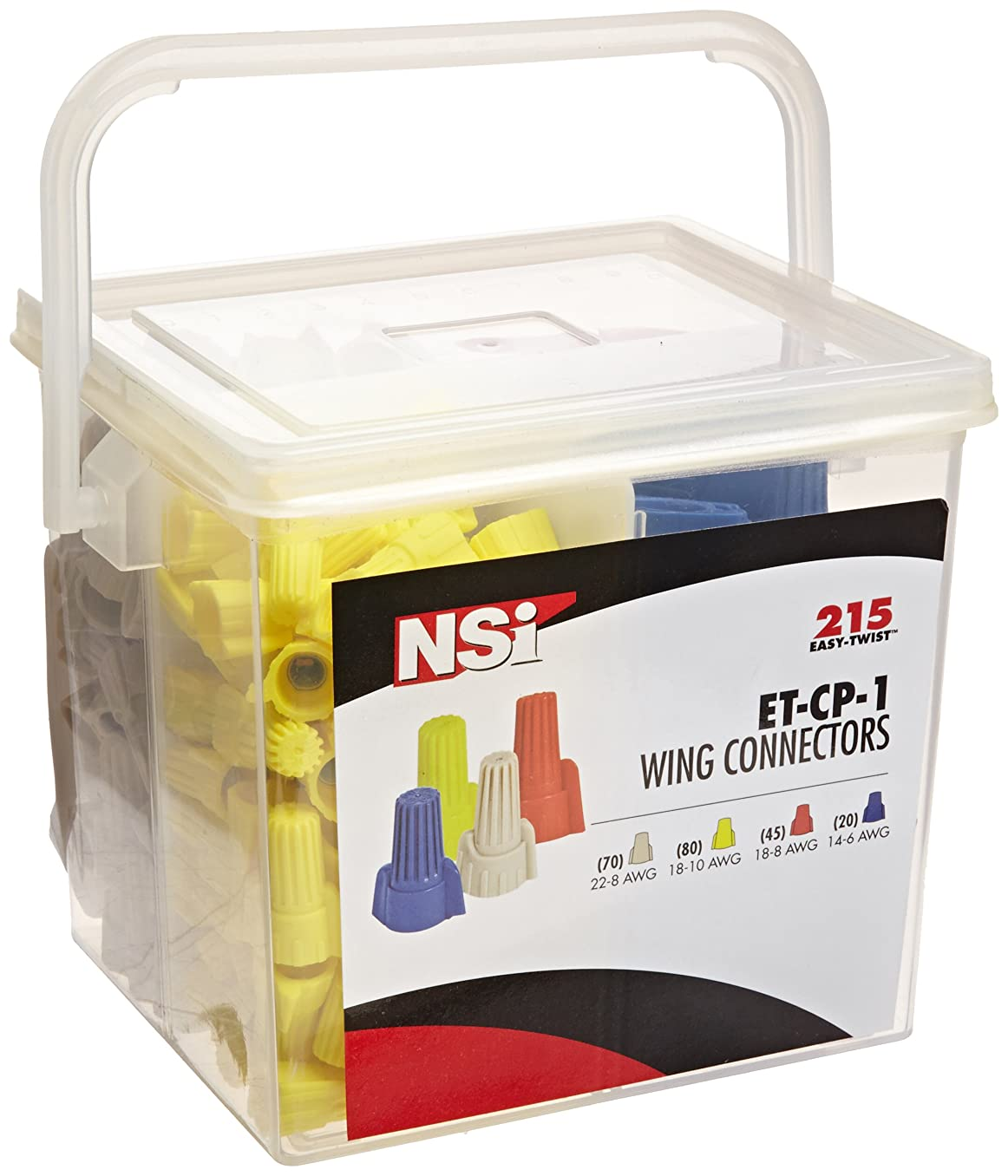 NSI ET-CP-1 Easy-Twist #1 Winged/Twist On Wire Connector Divided Combination Handy Pack Pail