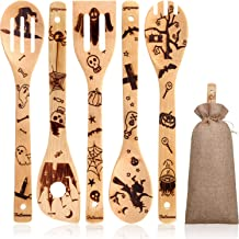 6 Pieces Halloween Wooden Spoons and Spatula Set Burned Bamboo Spoon Slotted Spoon Serving Utensil with Storage Bag for Ha...