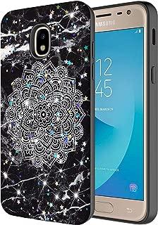 Samsung Galaxy J7 Refine /J7 V 2nd Gen/J7 Star /J7 Top Case,Onyxii Hybrid Glitter Sparking Graphic Impact Resistant Protective Cover Case for Samsung Galaxy J7 (2018) (Black Marble Mandala)