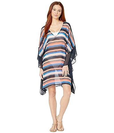 MICHAEL Michael Kors Large Stripe V-Neck Caftan Cover-Up (Persimmon Multi) Women