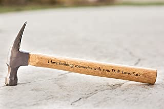 Personalized Dad Gifts from Daughter - Personalized Engraved Hammer Birthday Gift for Fathers and Grandpa (I love building memories with you)