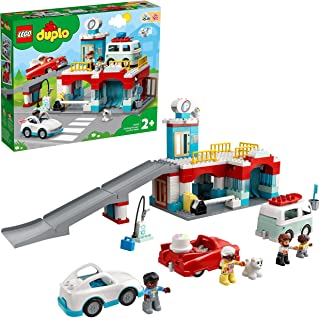 LEGO 10948 DUPLO Car Park and Wash Set, Toy for Toddlers 2 + Years Old with Garage, Petrol Station & Push Along Car