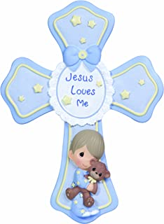 Precious Moments, Jesus Loves Me, Boy, Resin Cross With Stand, 132403