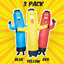 LookOurWay 3 Pack of Air Dancers Inflatable Tube Man Costumes (Red, Yellow, Blue)