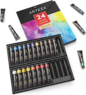 ARTEZA Watercolor Paint, Set of 24 Colors/Tubes, 24x12ml/0.4 oz with Storage Box, Non Toxic Paints for The Professional Artist and Hobby Painters