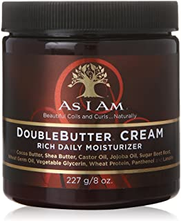 As I Am Double Butter Cream - 8 Ounce - Rich Daily Moisturizer - Soft and Shiny Curls and Coils - Repairs Split Ends - Strengthens Hair - Enriched with Pro-Vitamin B5