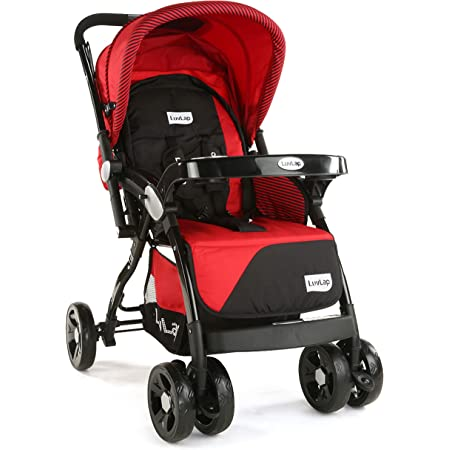 LuvLap Galaxy Stroller/Pram, Extra Large Seating Space, Easy Fold, for Newborn Baby/Kids, 0-3 Years (Red)