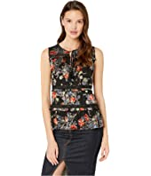 Floral Burnout Sectioned Sleeveless Top