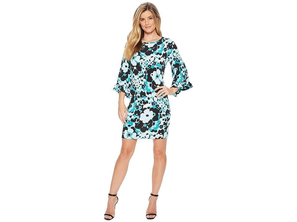 MICHAEL Michael Kors Springtime Flare Sleeve Dress (Tile Blue/Black Multi) Women