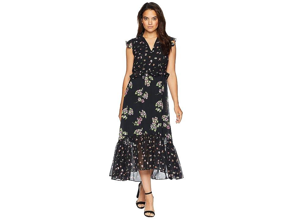 Taylor Mixed Print Ruffle Chiffon Maxi Dress (Black/Cherry Multi) Women
