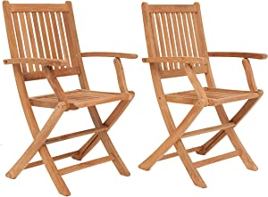 Amazonia London 2-Piece Teak Patio Folding Armchair