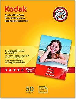 "Kodak Premium Photo Paper for inkjet printers, Gloss Finish, 8.5 mil thickness, 50 Sheets, 8.5"" x 11"" (8360513)"