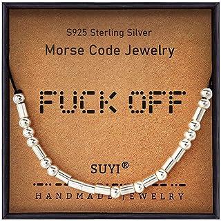 Suyi Morse - Braccialetto con perline in argento Sterling con cordoncino di seta, regolabile, idea regalo per lei