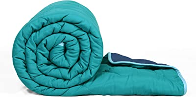 Divine Casa Luminous Microfiber All-Weather Reversible AC Single Comforter (Solid Turquoise Blue and Blue, 150 GSM)