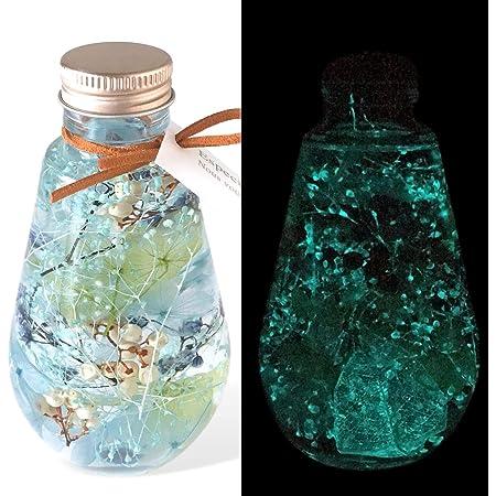 フローリストレマン ハーバリウム プリザーブドフラワー 光る 蓄光 誕生日 クリスマスプレゼント 記念日 サプライズ プレゼント 贈り物 ルミナリウム スターダスト 青 (ブルー)