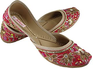 Fulkari Prime Anemone Women's Soft Leather Bite and Pinch Free Punjabi Flat Ladies Jutti Ethnic Mojari Shoe