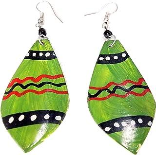 Green, Red, Black and White Animal Print Leaf Shaped Maasai Bone Earrings