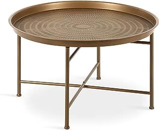 Kate and Laurel Mahdavi Boho-Chic Hammered Metal Tray Coffee Table, Dark Gold