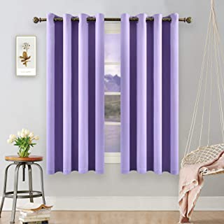 YGO Lilac Blackout Curtains for Bedroom - 63 inches Length Window Curtain Panels for Girls Room Triple Weave Light Purple Curtain Grommet Top 2 Panels