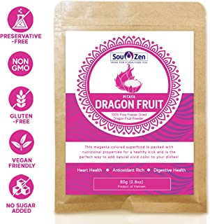Sou Zen Pitaya Dragon Fruit Powder 2.8oz (80g) Freeze Dried | All Natural, Magenta Superfood | Promotes Heart and Digestive Health | No Preservatives | Double-Sealed | Premium Quality