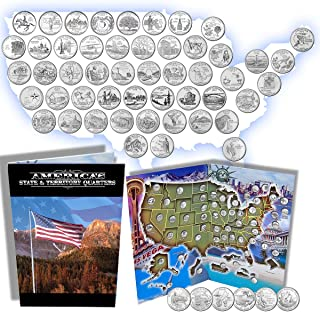 Complete 50 Uncirculated State (99-08) Quarter Collection Set + 6 Territory Quarters from The US Territories Program in a ...