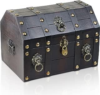 Brynnberg - Caja de Madera Cofre del Tesoro con candado Pirata de Estilo Vintage, Hecha a Mano, Diseño Retro 33x23x24cm