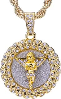 metaltree98 Men's 14 K Gold Plated Hip Hop Gold-Tone Praying Angel Round Pendant and Rope Chain 24