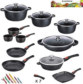 Kamberg - 0008162 - Set Lot Batterie de cuisine 27 pièces - Fonte d'aluminium - Revêtement pierre - Tous feux dont inducti...