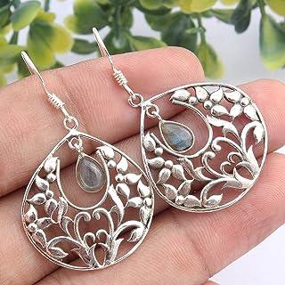 Kanika Jewelry Trove 925 Sterling Silver Labradorite Gemstone Earrings for Womens, Garnet January Birthstone Earrings for ...