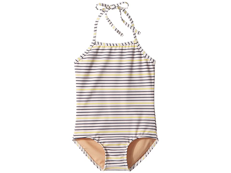 Toobydoo Ready For The Beach One-Piece Swimsuit (Infant/Toddler/Little Kids/Big Kids) (Navy/Yellow) Girl