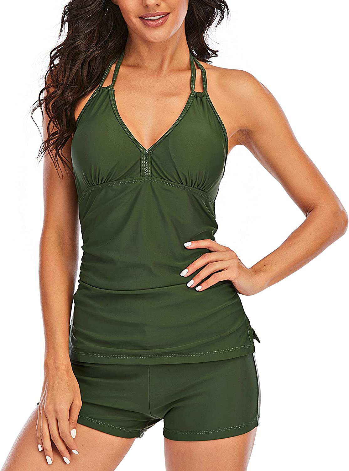 Vivian Women's V Neck Tankini Set Halter Tommy Control Tankini Top with Boyshorts Bottom Ruched Two Piece Bathing Suits