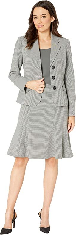 Three-Button Notch Collar Flare Skirt Suit