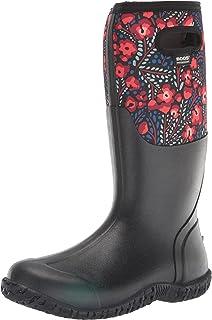 Bogs Women's Mesa Rain Boot, Super Flowers Print - Black, 9