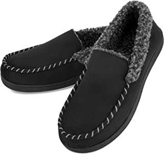 1988 Marco M.Kelly Men's Casual Memory Foam Comfortable Moccasin Slippers House Shoes Indoor/Outdoor Anti-Slip Rubber Sole