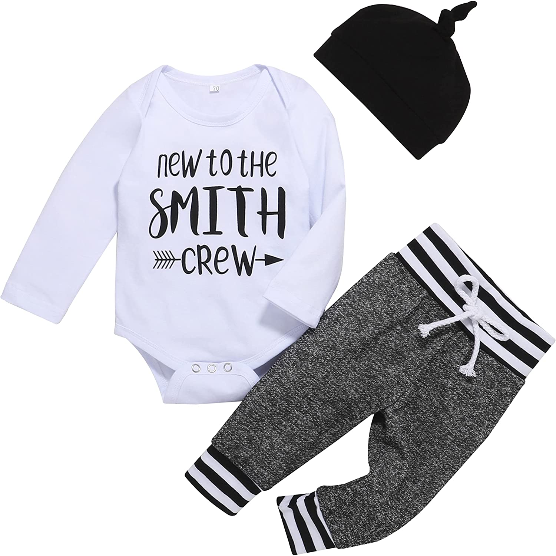 Newborn Baby Boy Girl Clothes Long Sleeve Outfit Romper Pants Headband 3Pcs Set