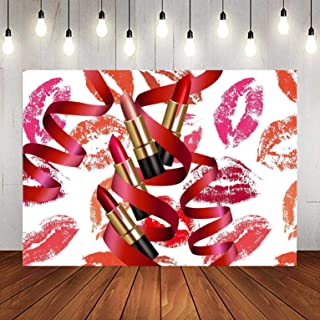 Red Romantic Lips Lipsticks Lipgloss Backdrop for Photography, 9x6FT, Stylish Makeup Ladies Birthday Fashion Background, Photo Booth Studio Props LYLU1221