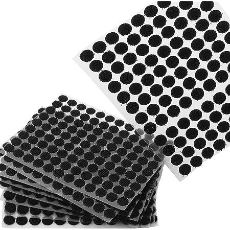 ASelected 2000Pcs Scratch Autocollant Rond 10mm, Petits Scratch Velcros, Pastilles Colle pour des Objets Un Peu Plus Léger, Noir