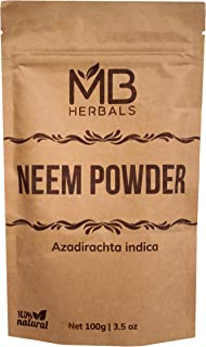 MB Herbals Pure Neem Leaf Powder 100g / 3.5 oz - 100% Pure - Wildcrafted - Very Bitter Neem Supplement for Skin Hair & Det...