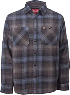 Coleman Flannel Sherpa Shirt Jacket (Small, Charcoal Navy)