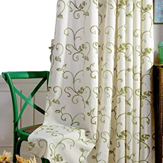 VOGOL 2 Panels Vines Embroidered Faux Linen Grommet Curtains for Living Room,Energy Efficient Window Treatment Panels,60 x 106 Inch, Grass Green