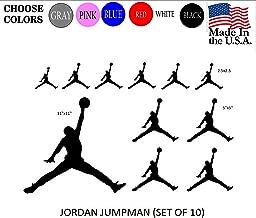 Set NBA Jordan 23 Jumpman Logo AIR Huge Flight Vinyl Decal Sticker - Car Window, Laptop, Wall, Mac (Black)