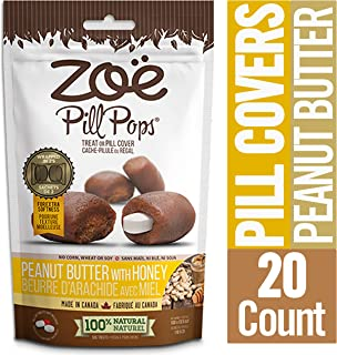 Zoe Pill Pops for Pets, Healthy All Natural Dog Treats for Giving Medication, Peanut Butter with Honey - Packaging may vary