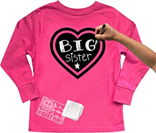 Chalk of the Town Chalkboard T-Shirt Kit for Kids - Long-Sleeve Hot Pink Heart with 1 Chalk Marker and Stencil (Small)
