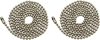 Pack Of 2 Pull Chain Extension, 36 Inch, Brushed Nickel 3-Feet Beaded Chain With Connector