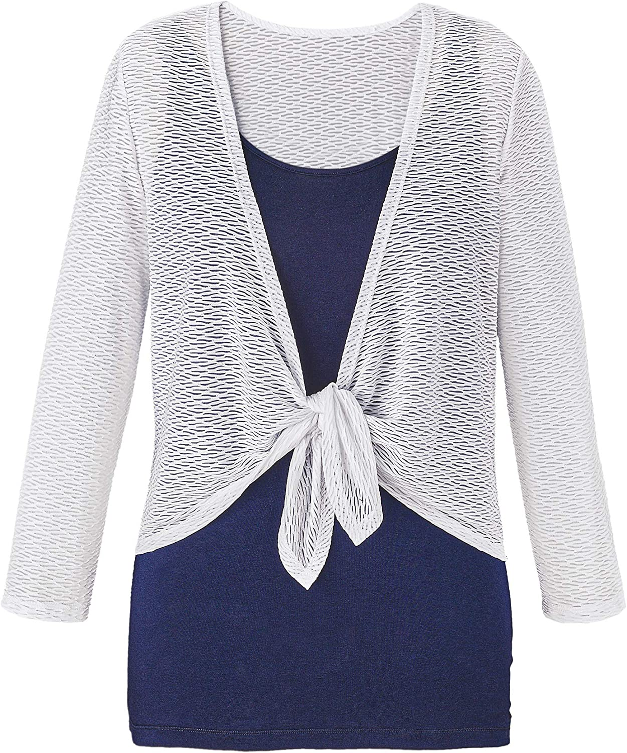 Collections Etc Women's Tie Front Textured Shrug Navy Large