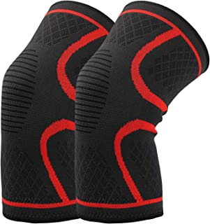HAUSBELL Knee Brace, Compression Sleeve Knee Sleeves Knee Pad Support for Arthritis, ACL, Running, Biking, Joint Pain Relief, Workout, Sports, Faster Injury Recovery for Men and Women (1 Pair-Size L)