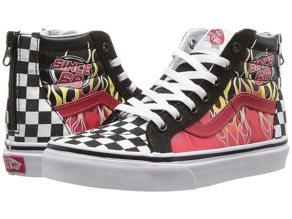 Vans Kids Sk8-Hi Zip (Little Kid/Big Kid) ((Race Flame) Black/Racing Red/True White) Boys Shoes