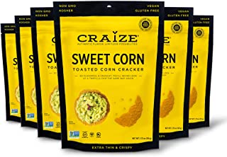 Craize Thin & Crunchy Toasted Corn Crackers – Sweet Corn Flavored Healthy & Organic Gluten Free Crackers - 6 Pack, 1.75 Ou...