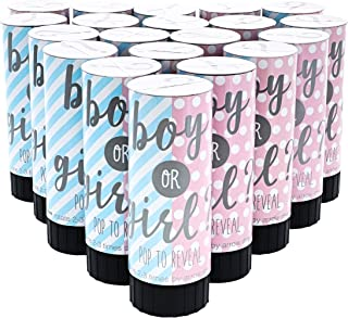 Juvale Baby Boy Gender Reveal Confetti Cannon Mini Party Poppers (20 Pack), 1.5 x 4.2 Inches